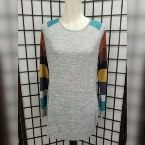 Tops - Crew Neck Long Sleeved Striped Tunic Grey
